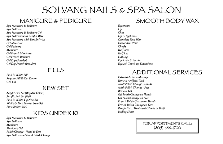 Solvang Nails Menu
